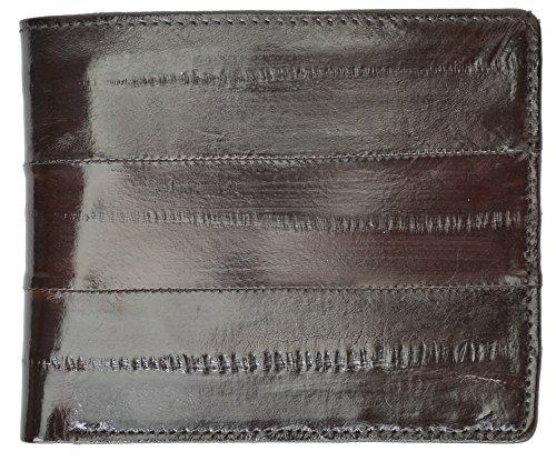 Eel Skin Bi-fold Mens Wallet #E709 (Brown) ()