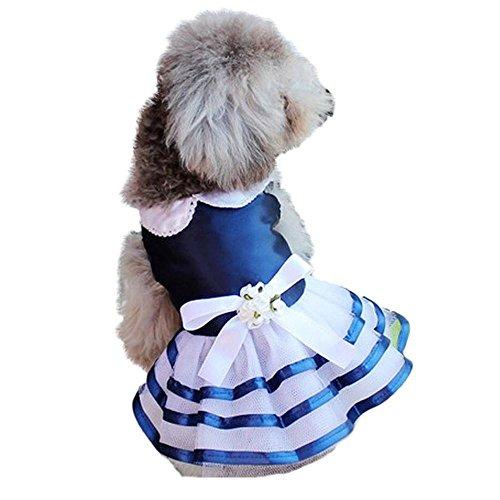 (Clearance Pet Apparel Cinsanong Vest T Shirt for Puppy Wedding Dress Dogs Lace Skirt Party Princess Dress Clothes (Navy, L))