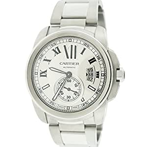 Cartier Calibre 42mm Silver Roman Dial Automatic Mens Watch W7100015 Box&Papers