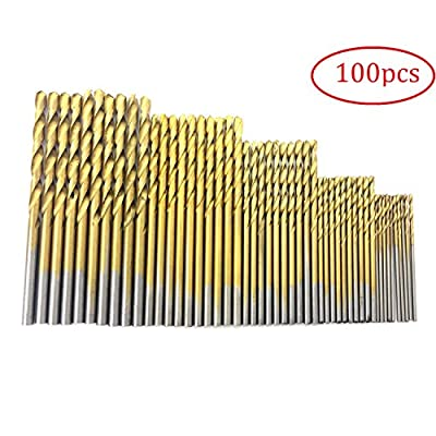 PANOVO 100pcs 1.0/1.5/2.0/2.5/3.0mm High Speed Steel with Titanium Coated Power Drill Bits Tools Set metal For work