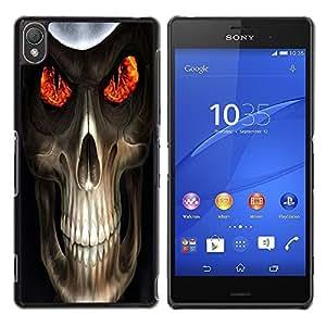 LECELL -- Funda protectora / Cubierta / Piel For Sony Xperia Z3 D6603 / D6633 / D6643 / D6653 / D6616 -- Evil Skull Death Reaper --