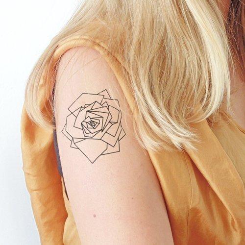 Rosa geométrica - Tatuaje temporal (conjunto de 2): Amazon.es ...