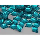 10x7mm Blue Zircon .BZ Flat Back Diamond Acrylic Jewels High Quality Pro Grade - 100 Pieces
