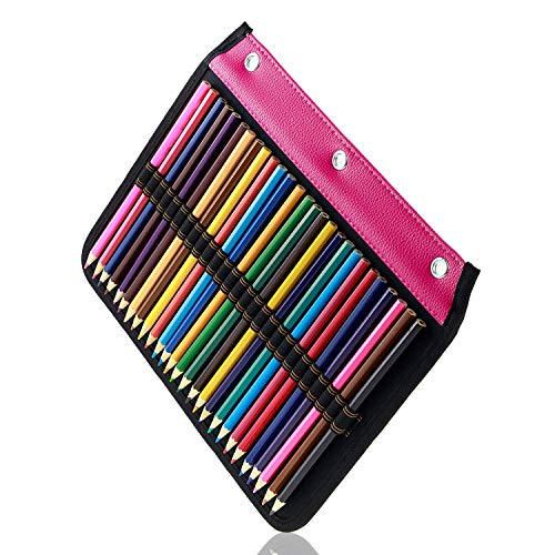 (YOUSHARES 54 Slots Pencil Sleeve - Standard 3 Ring Binder Designed Pencil Page Compatible with 216 Slots Pencil Case for Watercolor Pencil, Gel Pen & Cosmetic Brush (Red))