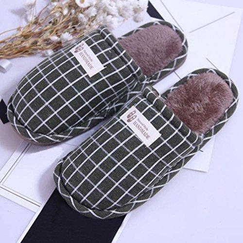 BZLine® Frauen Winter Stripe Indoor warm Hausschuhe Home Anti-Slip Soft Shoes Grün