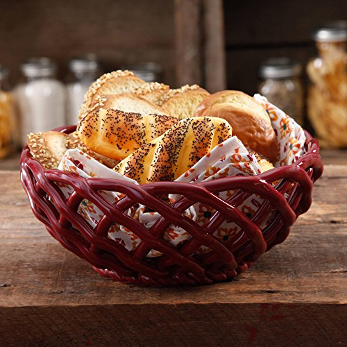 """The Pioneer Woman Microwave Safe 9"""" Bread Basket, CLARET"""