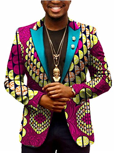 WSPLYSPJY Men's Traditional African Print One Button Suit Slim Blazer Jacket 8 L (Wool Suit Print)
