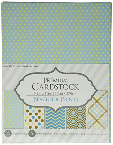 Darice Patterned 8.5 by 11 Cardstock Paper Pack, Beachside Prints, 8.5