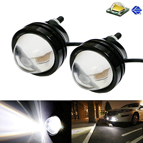 Projector Fog Lamps - iJDMTOY (2) Xenon White 5W CREE High Power Bull Eye LED Projector Lamps, Good For Parking Lights, Fog Lights, Driving DRL Lights or Backup Reverse Lights