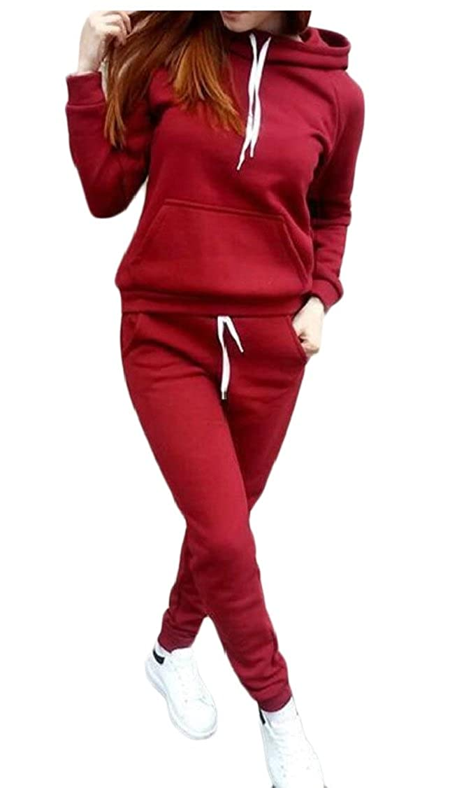 M/&S/&W Womens Sports Pullover Hoodie Sweat Pants Set Tracksuit