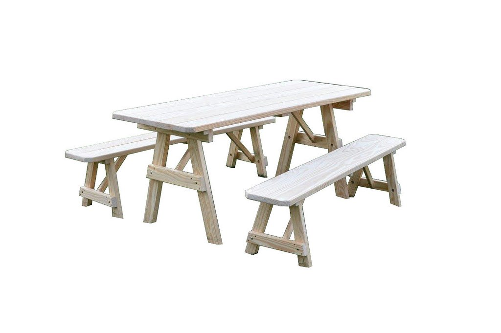 Furniture Barn USA Pressure Treated Pine 8 Foot Picnic Table with Detached Benches- Gray Stain