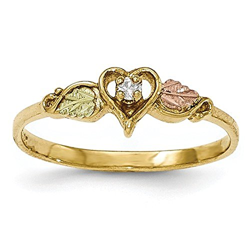 (10K Tri-Color Gold Black Hills Gold Genuine Diamond Heart Ring (0.05 CTTW, I-J Color, I2 Clarity))