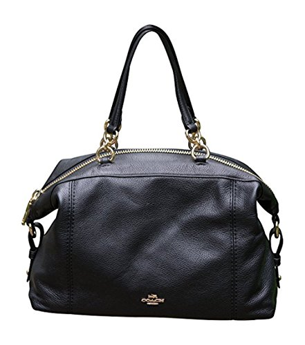 Coach Pebble Leather Lenox Satchel Handbag Shoulder Bag, Black with Gold Hardware (Coach Purse Outlet)