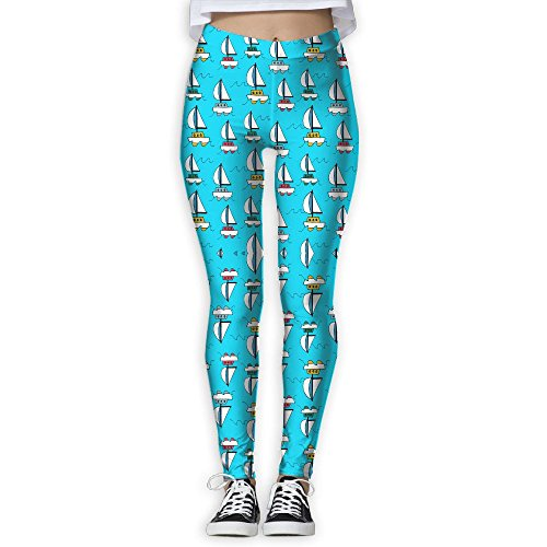 Colorful Blue Sea Sailboats Women's Tummy Control Sports Running Yoga Workout Leggings Pants (Milk Chocolate Sailboat)