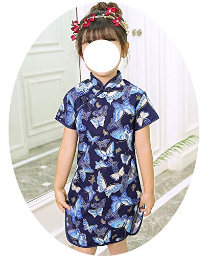 Baby Girl Qipao Dresses Chinese Children Clothes Girl's Cheongsam Outfits Floral Chi-Pao Dress,3,3T