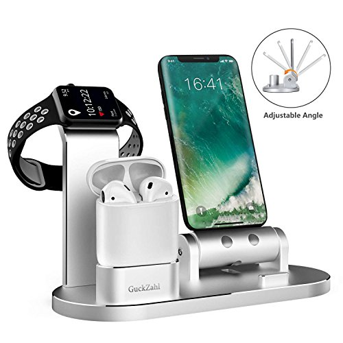 GuckZahl Apple Watch Changing Stand Aluminum 4 in 1 iWatch Charging Docks Phone Charging Station for Apple Watch Series 3/ 2/ 1/ AirPods/ iPhone X/ 8/ 8 Plus/ 7/ 7 Plus /6s/iPad by GuckZahl