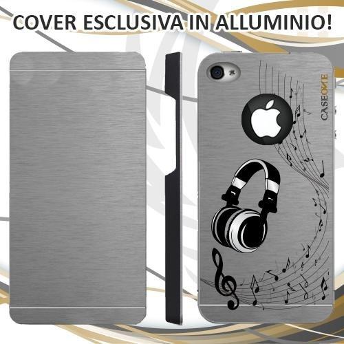 CUSTODIA COVER CASE CUFFIE MUSICA NOTA PER IPHONE 4S ALLUMINIO TRASPARENTE