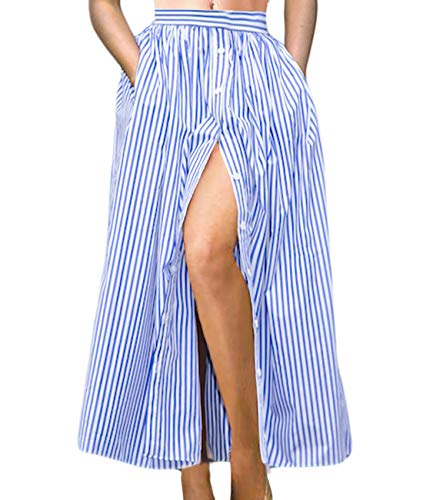 Lalagen Women's Striped Front Slit Ankle Length Button Front High Waist Maxi Skirt Blue S