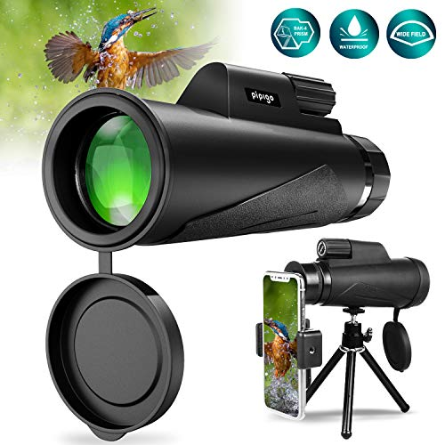 Monocular Telescope 12X50 High Power BAK4 Prism FMC Monocular with Smartphone Adaptor Tripod Waterproof Fog-Proof Shockproof Scope Carry Bag Compact for Adult Bird Watching Camping Hiking Hunting