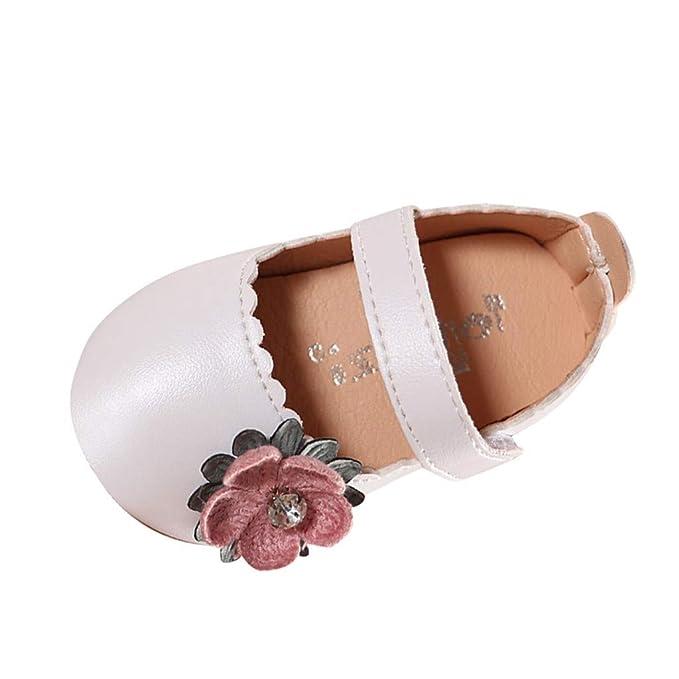 7a65284e1 Zapatos niña Princesa LANSKIRT Patucos PU Zapato Elegantes de Princesa  Color sólido de Flores para Bebe