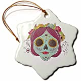 3dRose Sven Herkenrath Celebration - Cinco De Mayo Celebration Party Skull Head Mexican - 3 inch Snowflake Porcelain Ornament (orn_280280_1)