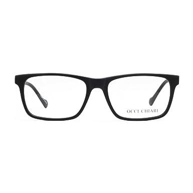 37fae0e2771 OCCI CHIARI Mens Rectangle Stylish Optical Eyewear Frame Metal Decoration  Clear Lens Glasses(Black