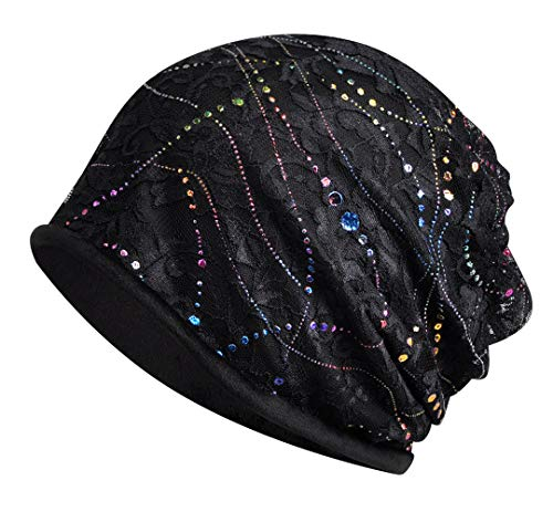 Jemis Skullies Beanies Thin Bonnet Cap Autumn Casual Beanies Hat (Black Velvet)