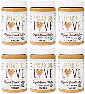 product image for Spread The Love NAKED Organic Peanut Butter (Organic, All Natural, Vegan, Gluten-free, Creamy, Dry-Roasted, No added salt, No added sugar, No palm oil) (6-Pack)