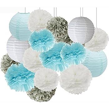 Birthday Party Decorations Furuix 16 Pcs White Blue Grey 10inch 8inch  Tissue Paper Pom Pom Paper
