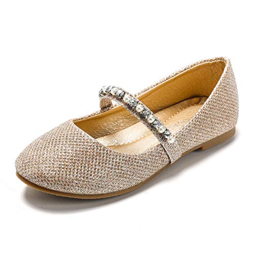 SANDALUP Little Girls Ballet Flat Mary Jane Shoes Inlaid with Pearl and Rhinestone Strap Gold Glitter 001