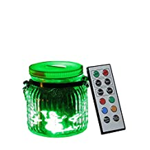 Candle Choice Living Jar, Indoor Outdoor Battery-operated Jar Light with Remote and Timer, Snowman and House Design