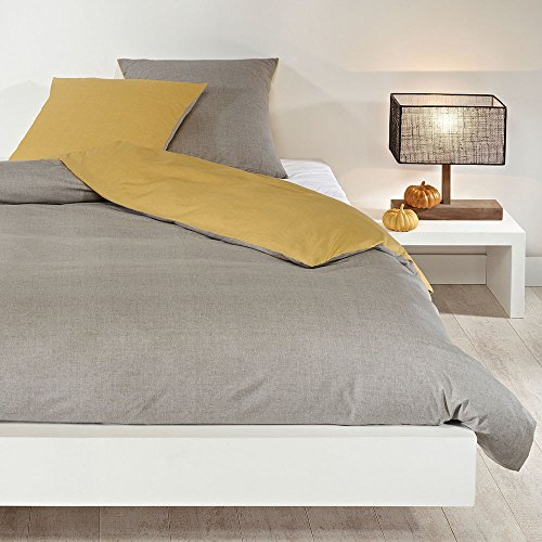Bettwaren-Shop Wendebettwäsche hellgrau senf Kissenbezug einzeln 80x80 cm
