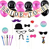 Deluxe Bachelorette Party Decorations Black & Pink with Big Set of 1 Bride to Be Banner, 12 Printed Balloons, 58 Fun Photo Props, 30 Straws. Everything You Need to Throw a Party Everyone Loves