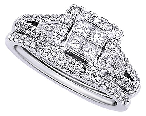 (AFFY 1.5 Ct Princess Cut Quad Invisible Cubic Zirconia Bridal Ring in 14K White Gold Over Sterling Silver)