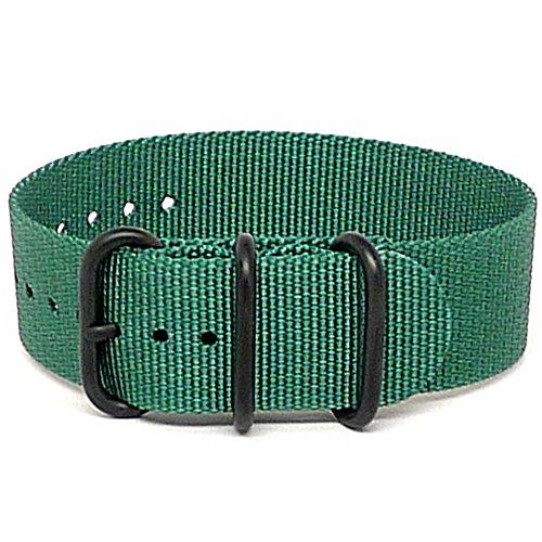 DaLuca Ballistic Nylon NATO 1 Piece Watch Strap - Green (PVD Buckle) : 20mm