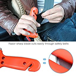 2 Pack Car Emergency Safety Hammer,AUTOSAVER88 Window Breaker, Seatbelt Cutter, Rescue Disaster ,Escape Life-Saving TOOLS-With screws