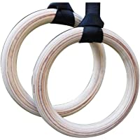 Birch Wood Gymnastic Rings Straps Strength Training Pull Up Heavy Duty Training Workout Exercise
