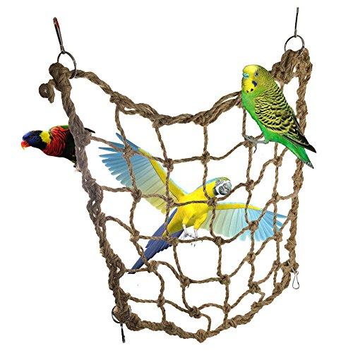 - Monbedos Parrot Birds Climbing Net -Climbing Cargo Net Bird Rope Net with Buckles-Jungle Fever Rope Small Animals Toys Parrot Training Climbing Swing Ladder