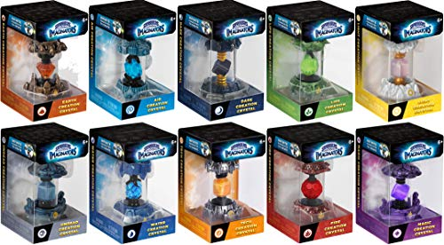 Skylanders Imaginators 10-Creation Complete Crystal Set - Undead Lantern, Dark Pyramid, Air Angel, Light Rune, Earth Rocket, Life Rocket, Fire Acorn, Magic Lantern, Water Rocket & Tech Armor Bundle
