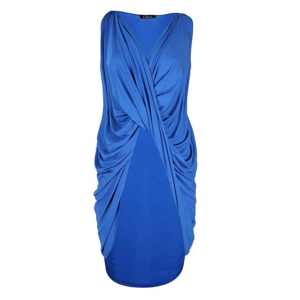 ドレスクロス不規則ノースリーブスリムバッグヒップスカートロングスカート4色5サイズ (色 : ブラック, サイズ さいず : S s) B07R6F6ZW2 XX-Large|青 青 XX-Large