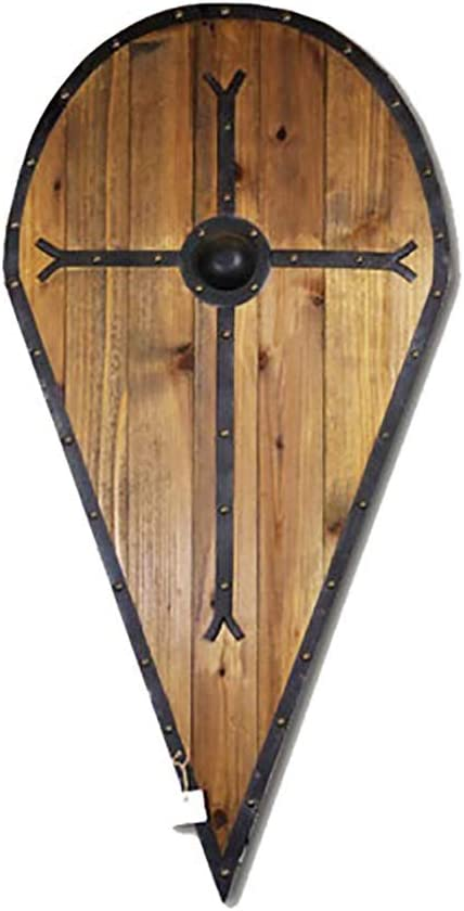 honglimeiwujindian Excelente Textura Escultura de Madera Placa Cruz Medieval Gota Escudo decoración de la Pared del Cruzado Escudo Escudo Medieval Popular (Color : Wood, Size : 43x88cm)
