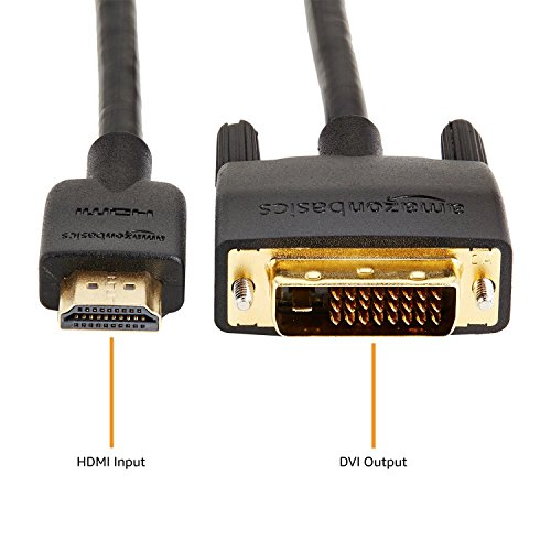 AmazonBasics HDMI to DVI Adapter Cable, Black, 6 Feet, 1-Pack