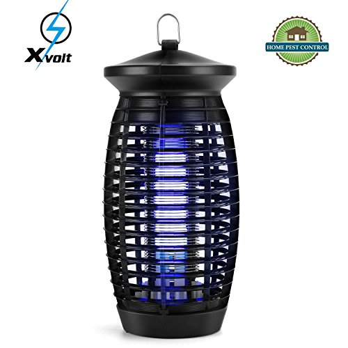 Bug Zapper,Electric Fly Trap Indoor Mosquito Zapper,500sq.ft.Coverage Fly Zapper Mosquito Trap Insect Killer with 120V UV Light Bulb,for Home Kitchen Office,Restaurant(Black) by Xvolt