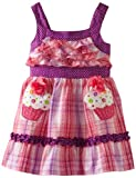 Youngland Little Girls' Sleeveless Ruffle Bodice Seersucker With Cupcakes, Purple, 2T