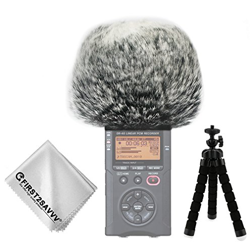 First2savvv Outdoor Portable Digital Recorders Furry Microphone Mic Windscreen Wind Muff for Tascam DR-40 DR40 + mini tripod + Suede cleaning cloth TM-DM-DR40-B01TZ3
