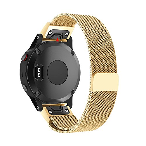 KaiCran Milanese Magnetic Loop Stainless Steel Band For Garmin Fenix 5 Replacement Wrist Band (Gold) by KaiCran