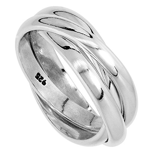 Sterling Silver Rolling Ring for Women w/ 3 mm Domed Bands Handmade size 6 - Six Band Rolling Ring