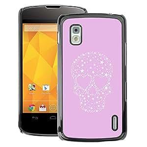 A-type Arte & diseño plástico duro Fundas Cover Cubre Hard Case Cover para LG Nexus 4 E960 (Stars Love Heart Punk Crystal)