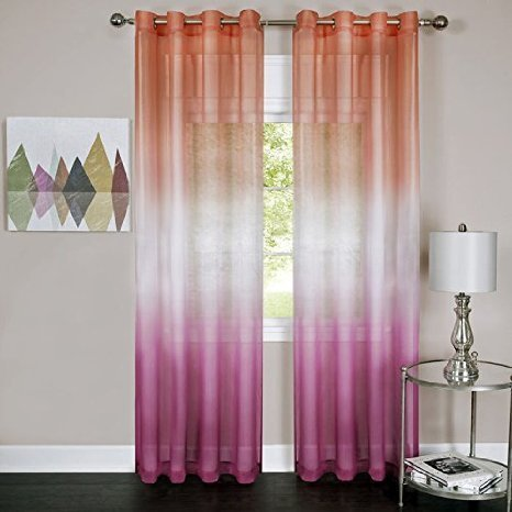 Cheap ElegantHome Set of 2 Rainbow Ombre Sheer Window Curtain Panels – Pink – (50 x 84-Inch)