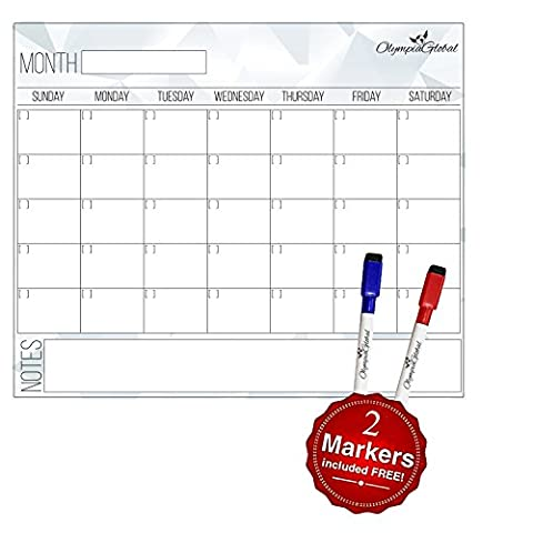 Olympia Global Monthly Planner Dry Erase Magnetic Calendar for Refrigerator | For Kids, To-Do Lists | Fits Any Fridge 16x11 Inches, Bonus Gift 2 Markers (Red & Blue)- Never Forget A Thing!